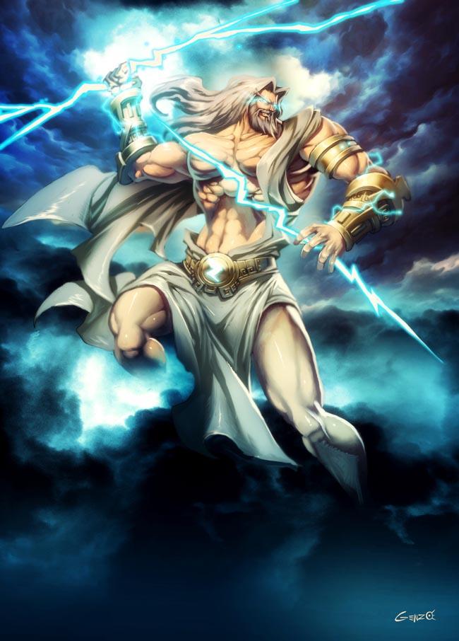 Deus Zeus. Fonte: https://www.deviantart.com/genzoman/art/Zeus-105217778