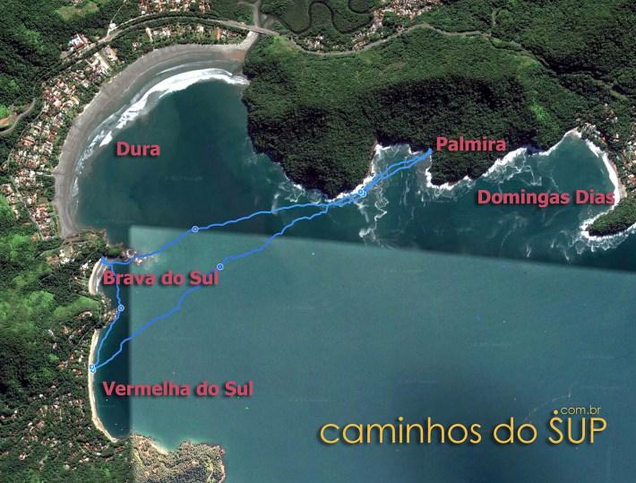 Mapa da travessia de Stand Up Paddle, passando pelas praias Vermelha do Sul, Palmira e Brava do Sul