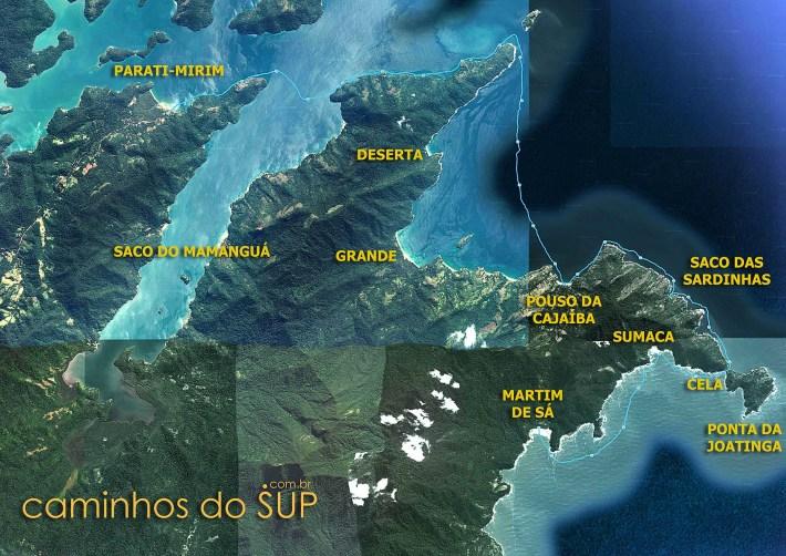 Mapa da travessia de SUP de Parati-Mirim até a Praia Martim de Sá, em Paraty - RJ