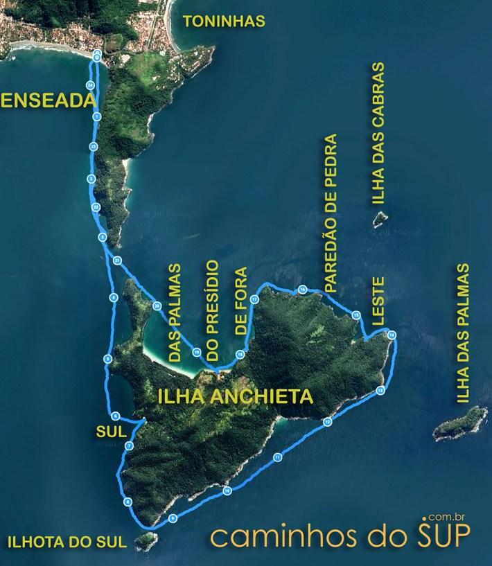 Mapa da travessia de SUP da Praia da Enseada até a Ilha Anchieta
