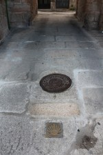 Entrance of Betanzos - see the Santiago shell in the floor