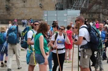 Praza do Obradoiro and pilgrims arriving