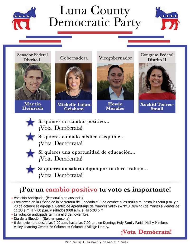 El Partido Demócrata de Luna County apoya a sus candidatos