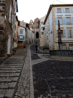 The steep road downhill from the Chapel of Le Puy