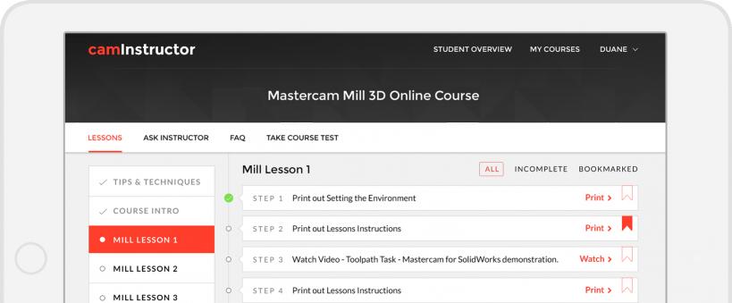 Mastercam Online Courses - CamInstructor