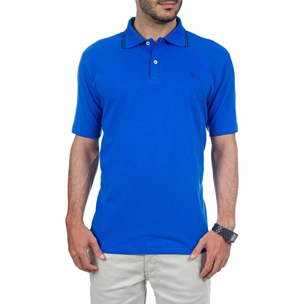 Camisa Polo Masculina Azul Lisa Camisaria Colombo 4722c9be21080
