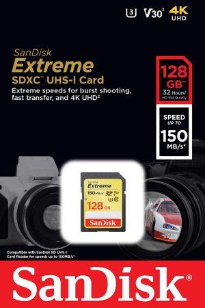 SanDisk 128GB Extreme V30 SD Card (SDXC) UHS-I U3 150MB/s