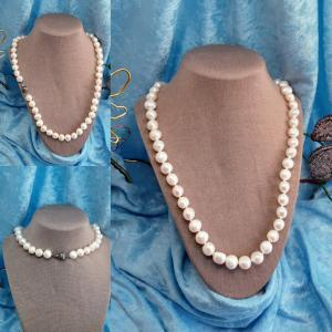 10-12 mm Baroque Freshwater Pearls 925 clasp 24in