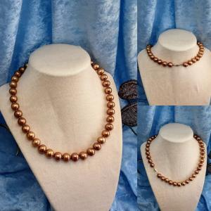 9 mm Caramel Colored Freshwater Cultured Pearl Strand