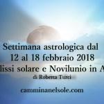 SETTIMANA ASTROLOGICA DAL 12 al 18 FEBBRAIO 2018 con  ECLISSI SOLARE e NOVILUNIO in ACQUARIO  di Roberta Turci