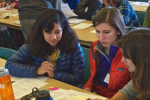 Monica (left) and Caroline (center) participating in mammalogy class exercises.
