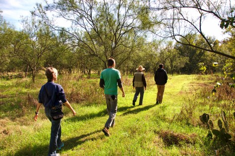 Dr. Anderson leads trainees on hike through early successional forest at Hornsby Bend