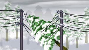 Khi tuyết rơi quá nhiều có khả năng làm đứt dây điện.