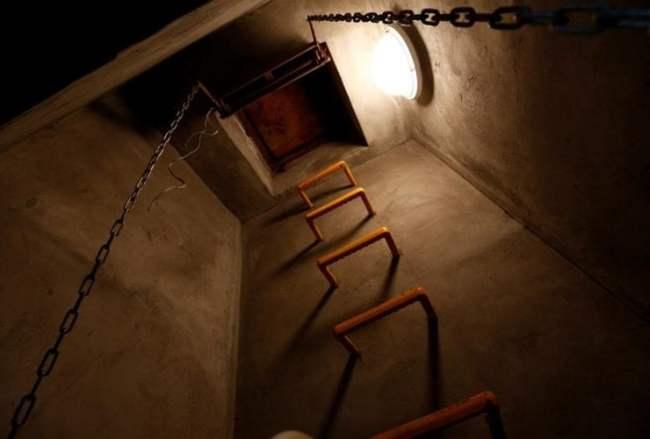 Lối thoát hiểm của phòng trú ẩn hạt nhân trong nhà ông Nishimoto.