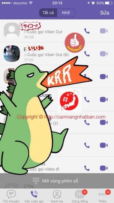 Lịch sử cuộc gọi trên phần mềm Viber của Ad