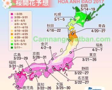 Lịch đi ngắm hoa Anh Đào ở Nhật Bản năm 2017Lịch đi ngắm hoa Anh Đào ở Nhật Bản năm 2017