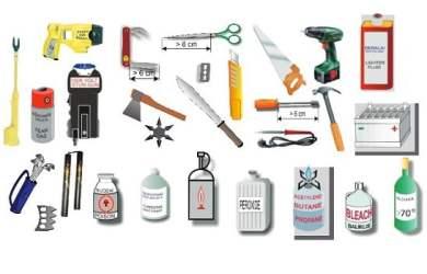 Những vật dụng không được mang theo ở dạng hành lý xách tay