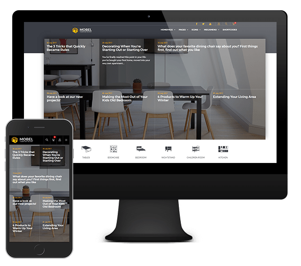 mobel furniture and interior website template pixel perfect crafted in a professional manner with positive and lasting impression and rtl direction