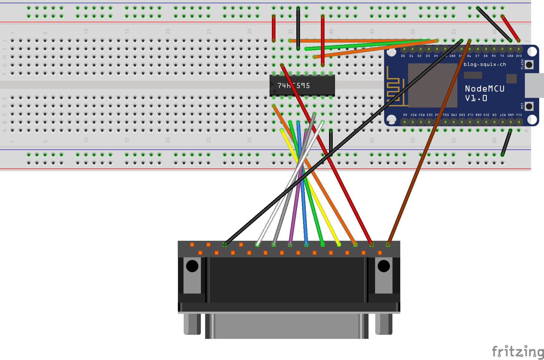 hight resolution of wiring diagram for parallel port printer with 74hc595 shift register
