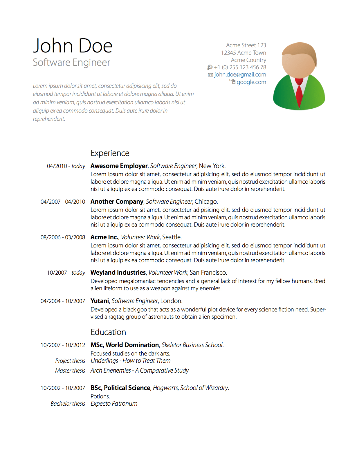 resume latex template download