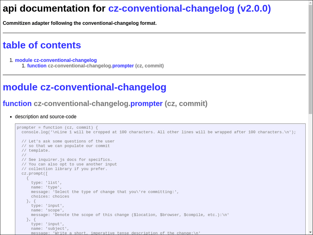 Commitizen Adapter Following The Conventional-Changelog Format.