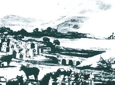 Arco di Porta Romana dopo la ricostruzione iniziata nel 1714. Innanzi il Ponte a tre arcate, colmato alla fine del XIX secolo per la realizzazione di Piazza Regina Elena