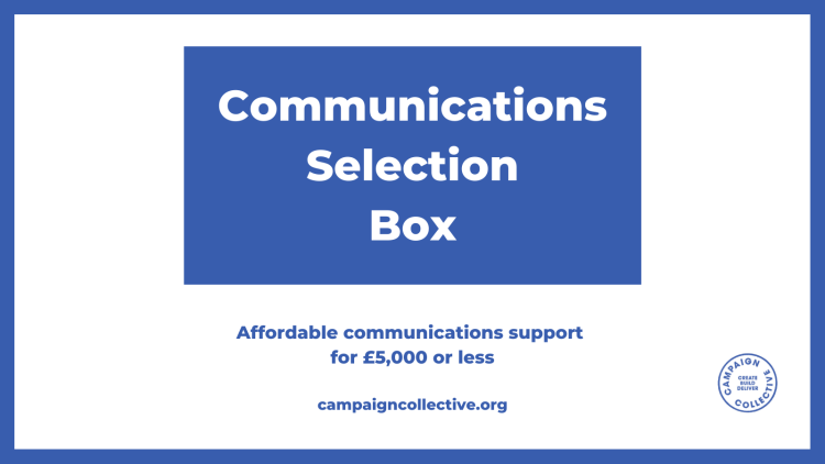 Design graphic featuring a rectangular blue box on a white background. Words inside the box read, Communications Selection Boc