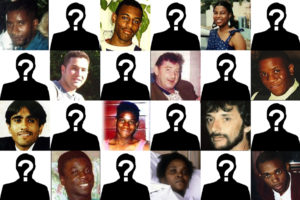 Tile pictures of 12 people whose justice campaigns were targeted by spycops, chequered ith silhouettes overlaid with question marks