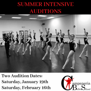 Summer Ballet Audition for Ages 10-12 @ Campaneria Ballet School | Cary | North Carolina | United States