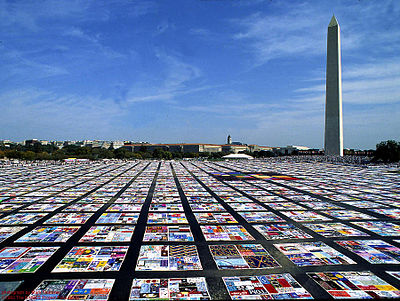 The Aids Quilt remembers the epidemic. My friend J's work