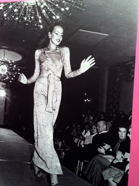 A 17 year old Jerry Hall modelling a wrap dress