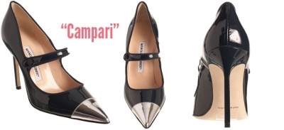 I couldn't resist: Manolo has a Campari pump. A man after our hearts