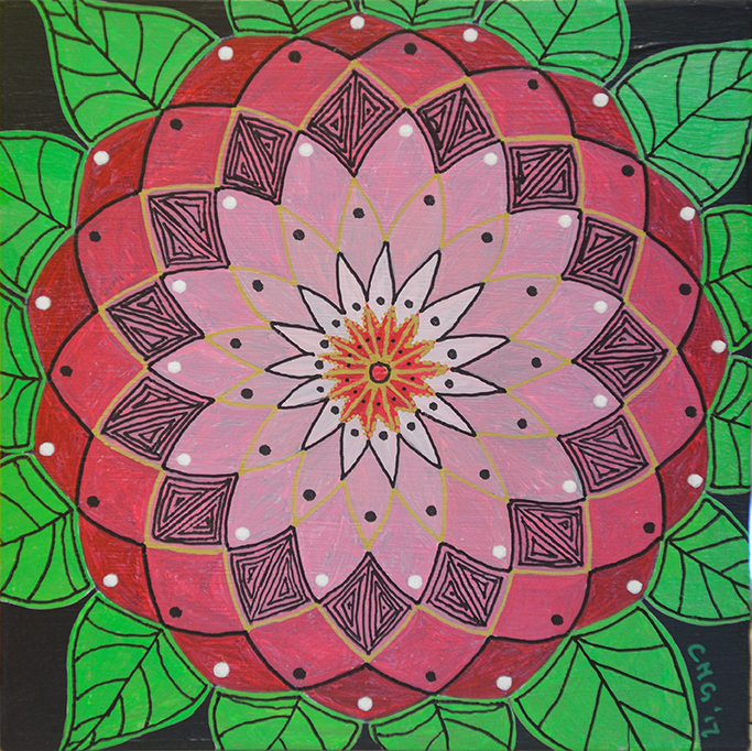 """6"""" x 6"""" (15.25cm x 15.25cm), acrylic and paint pen on birch board, painted by Cailin"""