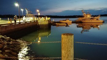 Yarmouth Harbour near main stage of Coal Shed Festival, Nova Scotia