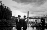 Portland bridges with two grooms