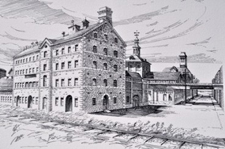 Black and white painting of Gooderham and Worts