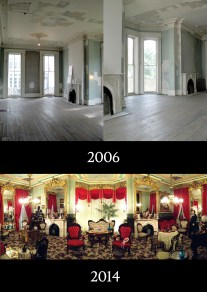 CHM Parlor during and after restoration.