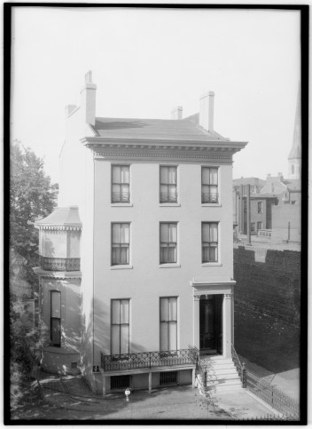Campbell House from the General American Life Insurance building in the early 20th century with covered master bedroom balcony.