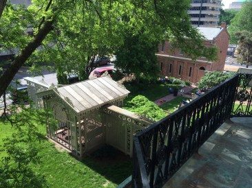View from the master bedroom balcony this morning - our crew of volunteer gardeners were hard at work!