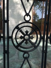 Detail of 1851 wrought iron railing on the master bedroom balcony.