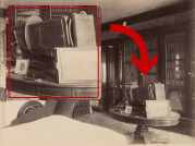 When we zoom into this 1880s image of Hugh Campbell's bedroom, we see an early camera on his center table. This boxy contraption points to the long-held theory that Hugh was an amateur photographer and may have even played a role in taking the invaluable pictures of nearly every room in the house that were the inspiration for our massive restoration in 2000.
