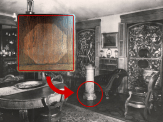 "Another large statue was found in the Dining Room. This bronze, entitled ""The Florentine Singer"" likely stood watch for decades in the same spot. All that remains today is a ghost mark of the statue's base on the Dining Room's oak floor."