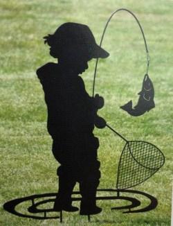 Boy Fishing Metal Stake