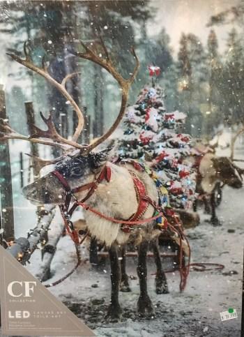 Reindeer Canvas Art with LED Lights