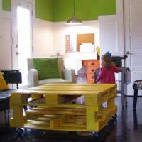 Tangerine Study Nook Desks & Yellow Pallet Coffee Table {my brilliant friends week}