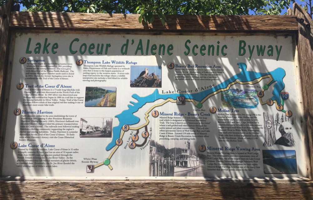 coeur d'alene scenic byway | coeur d'alene idaho tourism sign