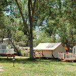 Cedar Creek RV Park in Montrose Colorado offers Glamping safari tent and vintage RV onsite rentals