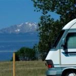 View of Pikes Peak from Falcon Meadow RV Campground near Colorado Springs