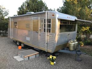 Vintage RV travel trailers at The Views RV Park & Campground (Dolores CO)
