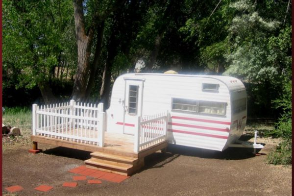 Little Darlin', our restored 1964 Winnebago (available for rent) Cedar Creek RV Park (Montrose CO)